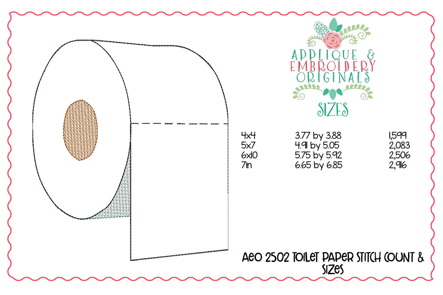 2502 Toilet Paper Applique Design Applique Amp Embroidery Originals